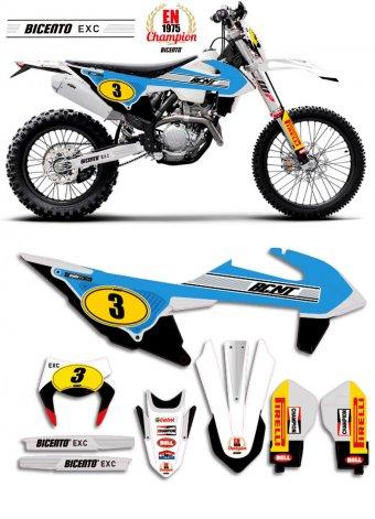 Grafica per KTM EXC 2020 Retro 75 azzurra